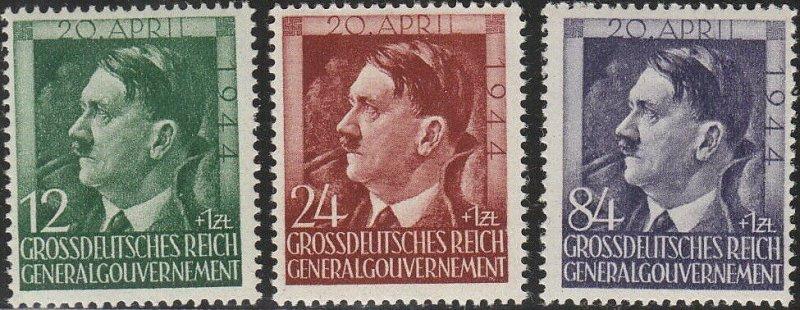 Stamp Germany Poland General Gov't Mi 117-9 Sc NB33-5 1944 WWII War Hitler MNG