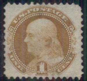 US #112 1¢ buff, used w/very light cancel, VF+ centering for this issue