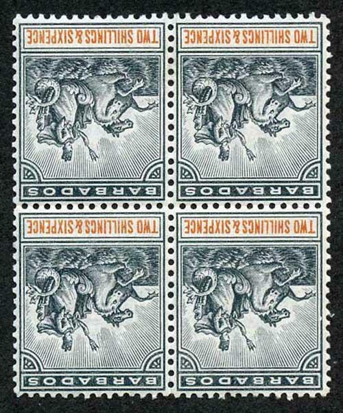 Barbados SG114w 1892 2/6 wmk Crown CA INVERETED 2 x U/M