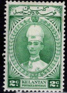 MALAYA Kelantan Scott 30 MH* Sultan Ismail stamp Hinge Thinned