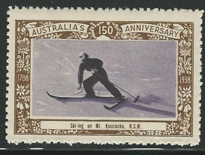 Skiing on Mt. Kosciusko, N.S.W., Australia, 1938 Poster Stamp, Cinderella Label