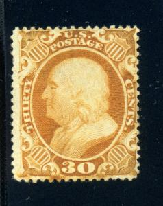 Scott #38 Franklin  Unused Stamp with APS Cert (Stock #38-1ap)