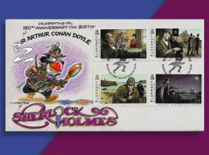 The Game is Afoot!  Puffin Sherlock Holmes on Handcolored Alderney FDC from 2009