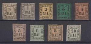 ITALY ROMAGNA 1859 Sc 1-9 FULL SET OF FORGERIES UNUSED (CV$460)