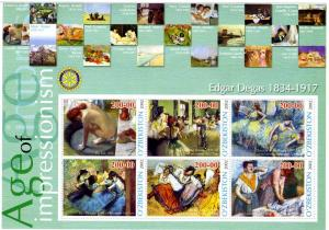 Uzbekistan 2002 EDGAR DEGAS Paintings Rotary Sheet Perforated Mint (NH)
