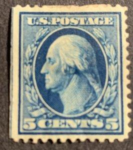 335 MLH OG.  Large Thin - crease.  1908 5c Washington blue.