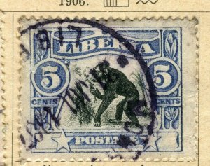 LIBERIA; 1906 early Pictorial issue fine used 5c. value