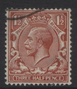 Great Britain -Scott 189 - KGV Head -1924- VFU-Wmk 35- Red Brown- 1.1/2p Stamp