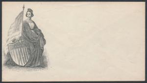 UNION CIVIL WAR PATRIOTIC COVER MINT FEMALE W/ FLAG & SHIELD DESIGN BR3479 HSAM