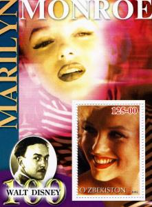 Uzbekistan 2002 Marilyn Monroe s/s Perforated mnh.vf