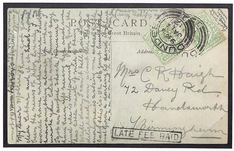 L128a 1912 GB Scotland Halfpenny LATE FEE PAID *Dundee* Postcard Birmingham