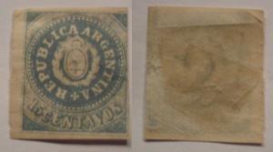 Argentina 1862 Coat of arms 15C Mi.7II c/v 7000 euro MH AM.292