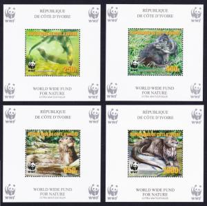 Ivory Coast WWF Speckle-throated Otter 4 Souvenir Sheets perforated reprint