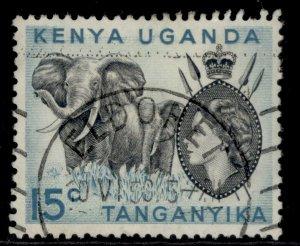 KENYA UGANDA TANGANYIKA QEII SG169, 15c black & light blue, FINE USED.