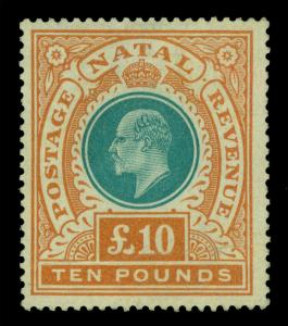 British SOUTH AFRICA - NATAL 1902 KEVII  £10 org & grn Sc # 99  mint MH(*)  RARE