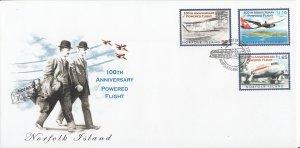 Norfolk Island 2003 FDC Sc #801-803 Set of 3 100th Anniversary of Powered Flight