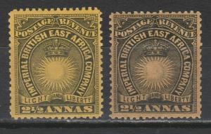 BRITISH EAST AFRICA 1890 LIGHT & LIBERTY 21/2A 2 SHADES