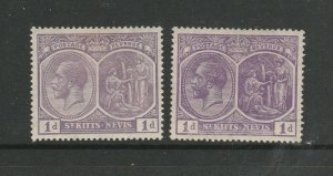 St Kitts Nevis 1921/9 GV 1d Violet, both listed shades MM SG 39 & 39a, both have