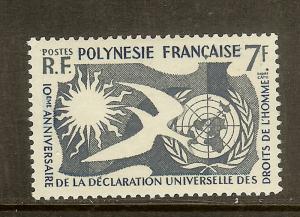 French Polynesia, Scott #191, 7fr Human Rights, MNH