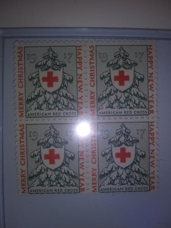 1917 CHRISTMAS SEALS BLOCK OF 4 MINT NEVER HINGED GEMS !! GREAT FIND !!
