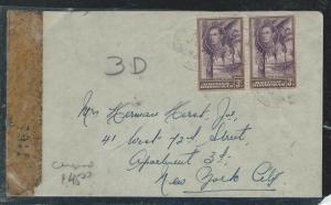 BRITISH HONDURAS (P2906B)1943 KGVI 3C PR ON CENSOR COVER TO USA