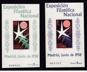 Spain 1958 Universal & International Expo.at Brussels Two Pristine Sheets  XF/NH