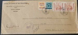 Philippines 1937 Ministry Of Posts Registered Cover To USA