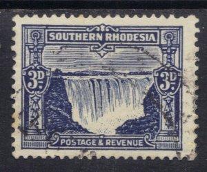 Southern Rhodesia 1931 - 37 KGV 3d Deep Ultramarine used SG 18 ( C1352 )