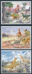 [107212] Palau 2004 Prehistoric animals dinosaurs 3 Sheets MNH