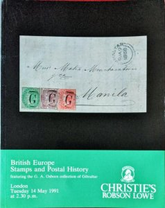 Auction Catalogue BRITISH EUROPE with the GA Osborn POSTAL HISTORY OF GIBRALTAR