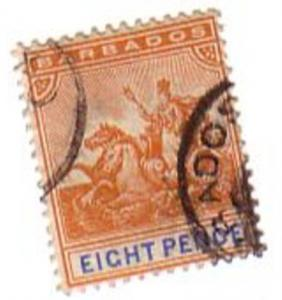 Barbados Sc 77 1892 8 d badge of colony stamp used