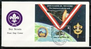 Turks & Caicos, Scott cat. 970. Scout Jamboree, Space s/sheet. First Day Cover.