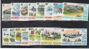 NORFOLK ISLAND (MM239) # 256-270,262A VF-MNH VARc,$  VARIOUS AIRPLANES CV $16
