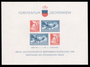 Liechtenstein 1936 POSTAL MUSEUM S/S MNH #B14 CV$60.00 [190213]