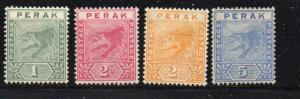 Malaya Perak Sc 42-5 1892-99 Tiger stamp set mint