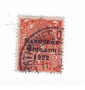 Ireland Sc 47 1922 2 d orange G V stamp overprinted used