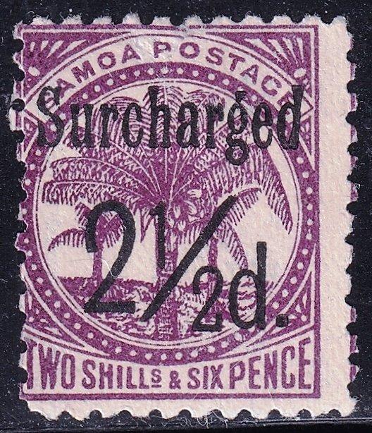 UK British Colonies & Territories SAMOA STAMP 1898 Surcharged BLACK M/NG tear