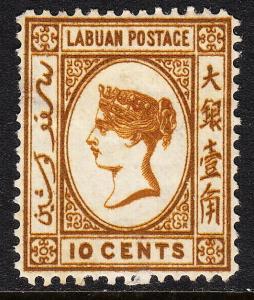 LABUAN — SCOTT 8 (SG 8) — 10¢ VICTORIA — CC WMK — MH — THIN — SCV $190.00