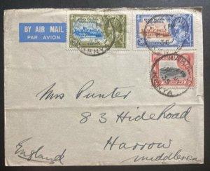 1935 Nakuru Kenya British KUT Airmail Cover To Harrow England Silver Jubilee