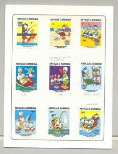Antigua #808-818 Disney 9v & 2v S/S Imperf Proofs Mounted in Folder