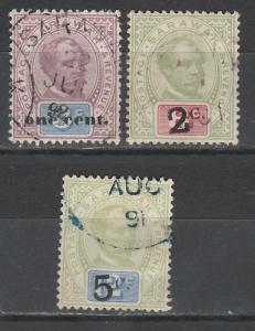 SARAWAK 1889 RAJAH SURCHARGE 1C/3C 2C/8C AND 5C/12C USED