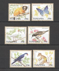 A0610 TANZANIA FLORA & FAUNA WILD ANIMALS BIRDS BUTTERFLIES SET MNH