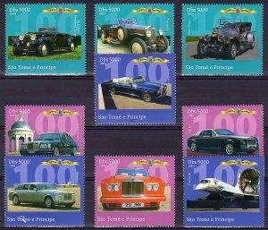 Sao Tome and Principe  2004 Rolls Royce 100th.Anniv./Concorde Set(9) Perf.MNH VF