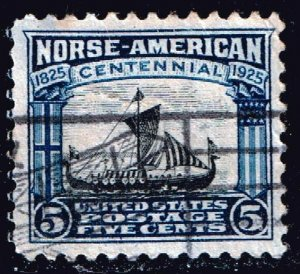 US STAMP #621 1925 Norse-American Issue 5¢ Viking Ship USED
