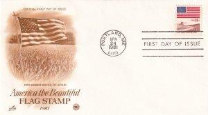 1981, Flag-Amber Waves of Grain, Art Craft/PCS, FDC (E11325)