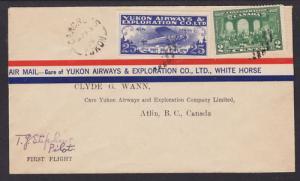Canada Sc CL42 on 1928 Yukon Air First Flight Cover, Yukon-Atlin