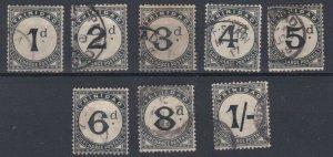 TRINIDAD & TOBAGO  1885 - 1906  POSTAGE DUES    1D TO 1/-  USED
