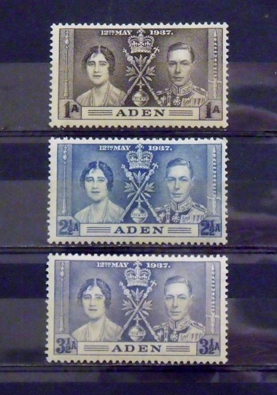 2341   Aden   MNH, VF  # 13, 14, 15   Coronation Issues