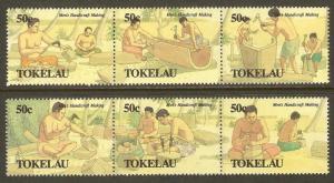 Tokelau #172-7 NH Men's Handicrafts (2 STRIPS)