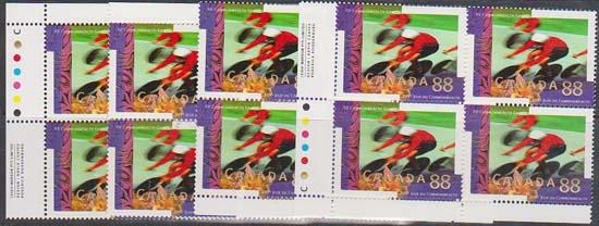 Canada #1522a Mint MS of Imprint Blocks VF-NH USC Cat. $40. 1994 88c Cycling